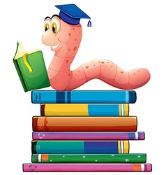 Book and worm vector image