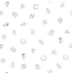 cowboy hand drawn seamless pattern background vector image vector image