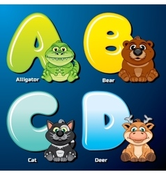 Cute Animals and Birds in Alphabetical Order vector image vector image