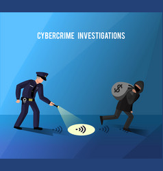 hackers cybercrime prevention investigation flat vector image vector image