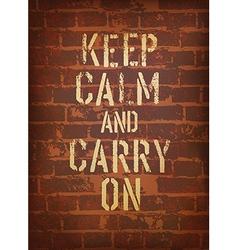 keep calm brick wall vector image vector image