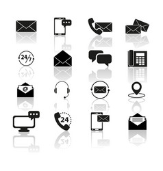 set contact with reflection icons vector image vector image