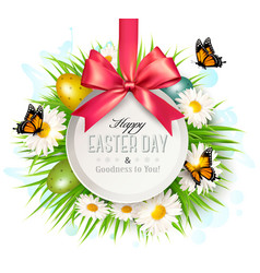 spring easter background easter eggs in grass vector image