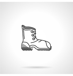 Black line hiking boot flat icon vector image