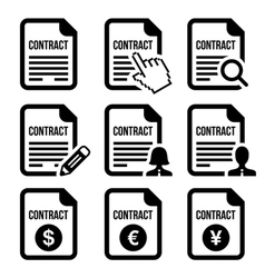 Business or work contract signing icons set vector