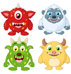 Cartoon monster collection set vector image