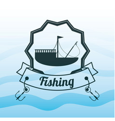 emblem related with fishing boat vector image