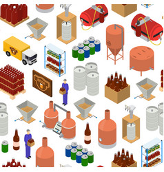 equipment and beer production background pattern vector image