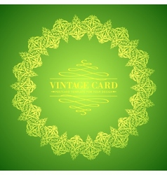 Golden leaf lace on green background vector image vector image
