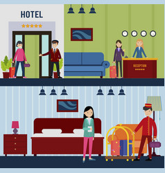 people in hotel horizontal banners vector image vector image