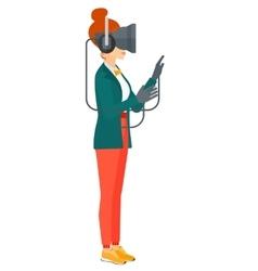 Woman wearing virtual reality headset vector image vector image