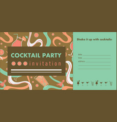 cocktail party horizontal invitation card vector image vector image