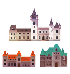 medieval castles with towers and turrets vector image vector image