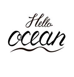 modern brush inscription hello ocean vector image vector image
