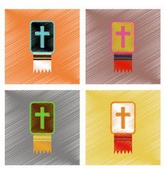 assembly flat shading style icons bible book vector image
