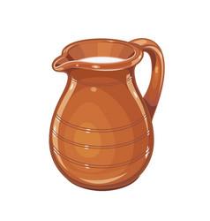 Ceramic jug with milk vector