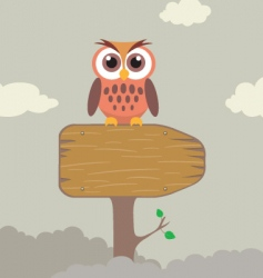 cute owl on direction sign vector image vector image