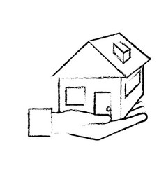 figure hand with house architecture design icon vector image vector image