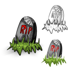 Halloween monsters isolated spooky tombstones set vector image vector image