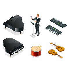 isometric musical instruments icons vector image