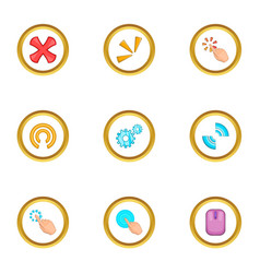mouse cursor icons set cartoon style vector image vector image