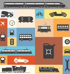Vintage and modern vehicle silhouettes vector image vector image