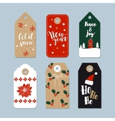 Vintage Christmas gift tags set Hand drawn labels vector image vector image