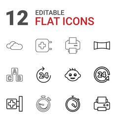 12 glossy icons vector