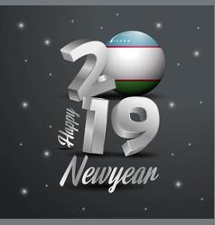 2019 happy new year uzbekistan flag typography vector