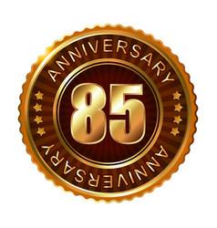 85 years anniversary golden brown label vector image