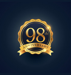 98th anniversary celebration badge label in vector
