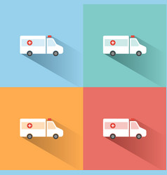 Ambulance color icon with shadow on colored vector