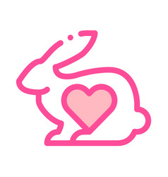 animal rabbit and heart thin line icon vector image