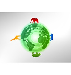 Animals on the world vector