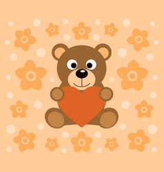 background with funny bear cartoon vector image