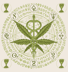 Banner with cannabis leaf caduceus and runes vector
