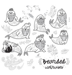 Black and white contour hipster walruses vector