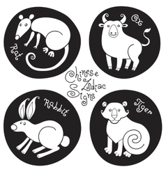 black and white set signs chinese zodiac vector image