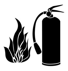 black silhouette fire flame and extinguisher icon vector image