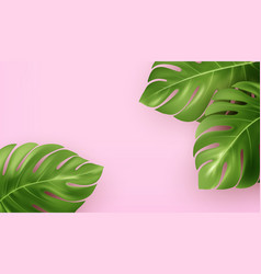 Bright pink summer background with tropical vector