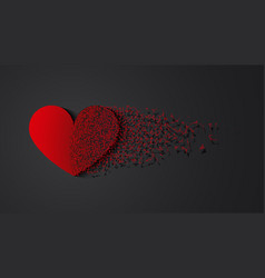 broken heart with shadow vector image