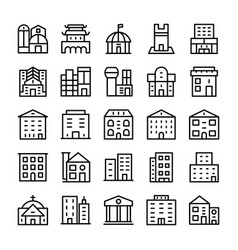 Buildings landmarks line icons 11 vector