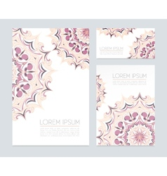 Business cards with floral ornaments vector