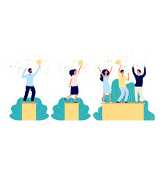 business winners characters person holding trophy vector image