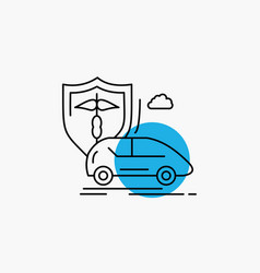 car hand insurance transport safety line icon vector image