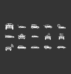 car icon set grey vector image