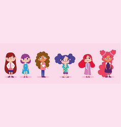 cartoon character animation group little girls vector image