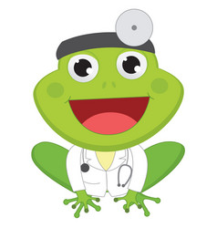 Cartoon doctor frog vector
