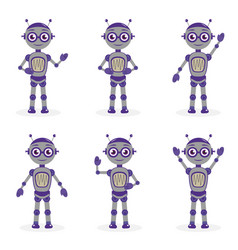 cartoon robot mascot set of objects in flat style vector image