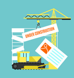 cartoon under construction site card poster vector image